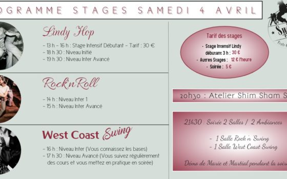 STAGES LINDY HOP, ROCK'N'ROLL ET WEST COAST SWING SAMEDI 4 AVRIL
