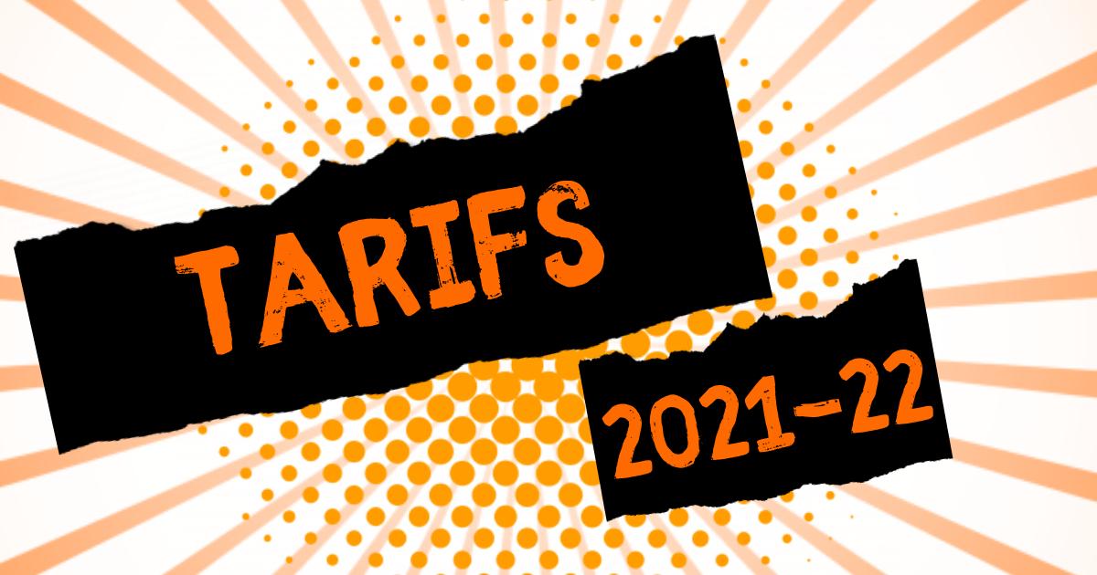 Tarifs des cours 2021-2022